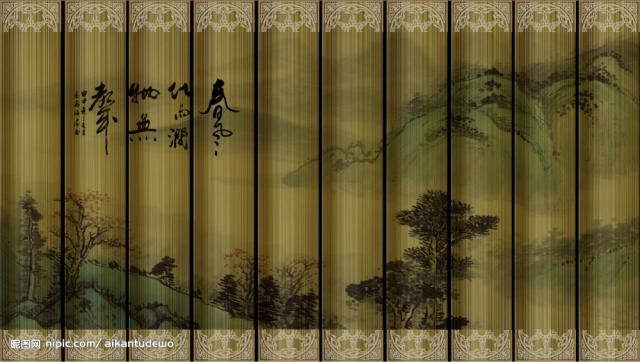 古风透明窗帘素材